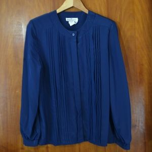 Vintage 80s Pleated Front Button Blouse Navy Blue
